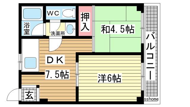 物件番号: 1123104222 メゾン・ド・ウエモ  神戸市灘区神ノ木通3丁目 2DK マンション 間取り図