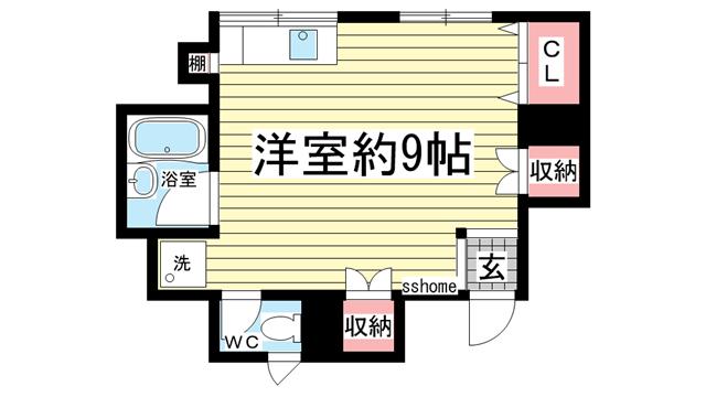 物件番号: 1123104233 藤本ハイツ  神戸市灘区水道筋5丁目 1R マンション 間取り図
