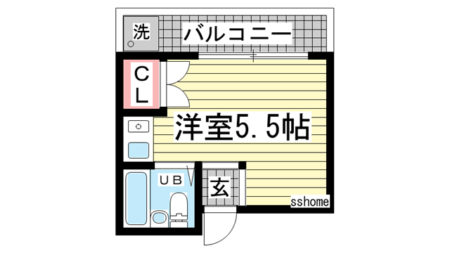 物件番号: 1123104235 ティ・オー上野  神戸市灘区上野通4丁目 1R マンション 間取り図