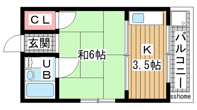 物件番号: 1123104245 藤原ハイツ  神戸市灘区国玉通3丁目 1K ハイツ 間取り図