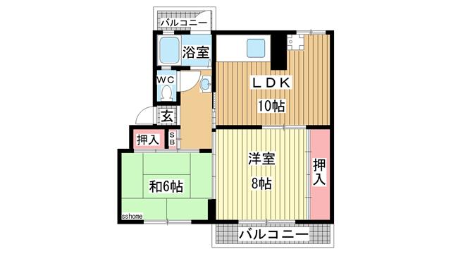 物件番号: 1123104292 鶴甲コーポ15号棟  神戸市灘区鶴甲4丁目 2LDK マンション 間取り図