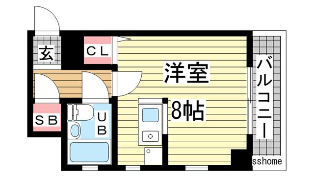 物件番号: 1123104418 イアラマンション  神戸市灘区楠丘町3丁目 1R マンション 間取り図