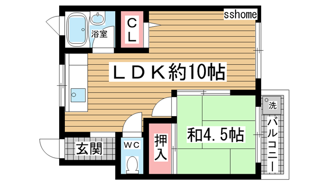 物件番号: 1123104428 泉マンション  神戸市灘区篠原中町6丁目 1LDK マンション 間取り図
