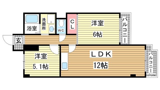 物件番号: 1123104460 西御影グリーンハウス  神戸市東灘区御影塚町3丁目 2LDK マンション 間取り図