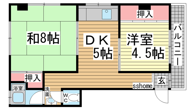 物件番号: 1123104501 植原マンション  神戸市灘区下河原通2丁目 2DK マンション 間取り図