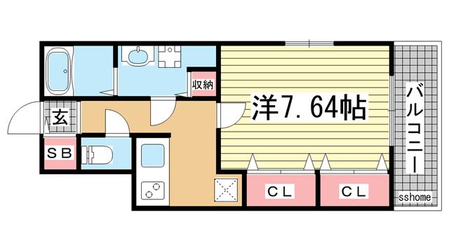 物件番号: 1123104504 GKレジデンス王子公園  神戸市灘区水道筋5丁目 1K マンション 間取り図