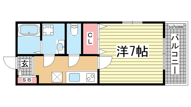 物件番号: 1123104511 GKレジデンス王子公園  神戸市灘区水道筋5丁目 1K マンション 間取り図