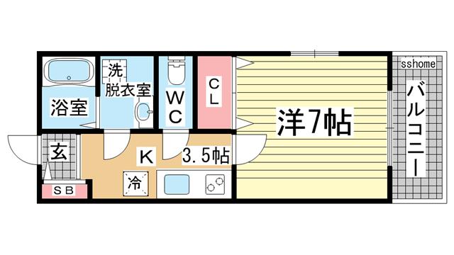 物件番号: 1123104518 GKレジデンス王子公園  神戸市灘区水道筋5丁目 1K マンション 間取り図