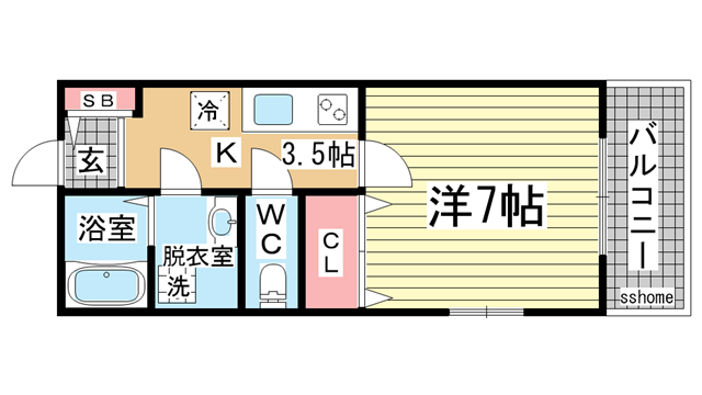 物件番号: 1123104525 GKレジデンス王子公園  神戸市灘区水道筋5丁目 1K マンション 間取り図