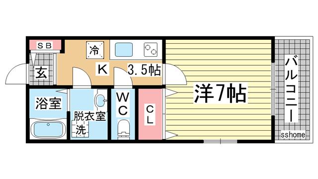 物件番号: 1123104526 GKレジデンス王子公園  神戸市灘区水道筋5丁目 1K マンション 間取り図