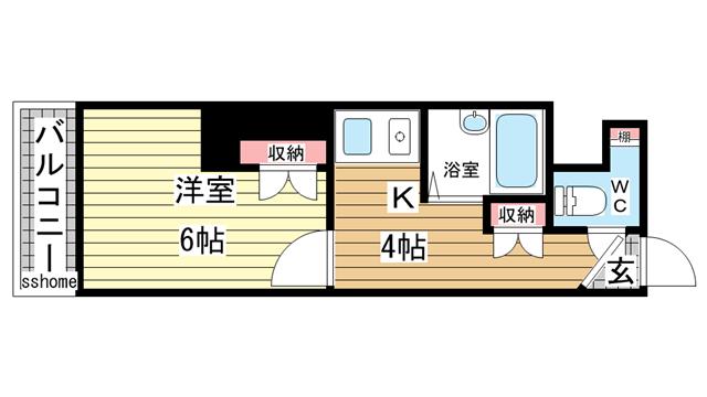 物件番号: 1123104530 ヴィヴァント青木  神戸市東灘区青木2丁目 1K マンション 間取り図
