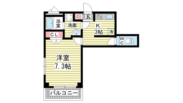 物件番号: 1123104532 GKレジデンス王子公園  神戸市灘区水道筋5丁目 1K マンション 間取り図
