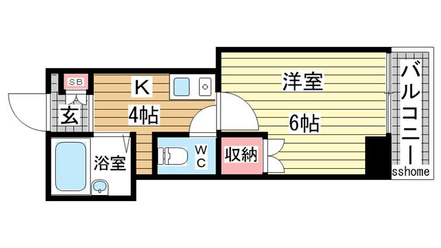 物件番号: 1123104536 ヴィヴァント青木  神戸市東灘区青木2丁目 1K マンション 間取り図