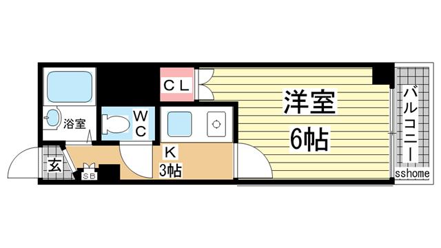 物件番号: 1123104539 ヴィヴァント青木  神戸市東灘区青木2丁目 1K マンション 間取り図