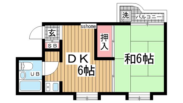 物件番号: 1123104540 ストーク西灘  神戸市灘区都通5丁目 1DK マンション 間取り図