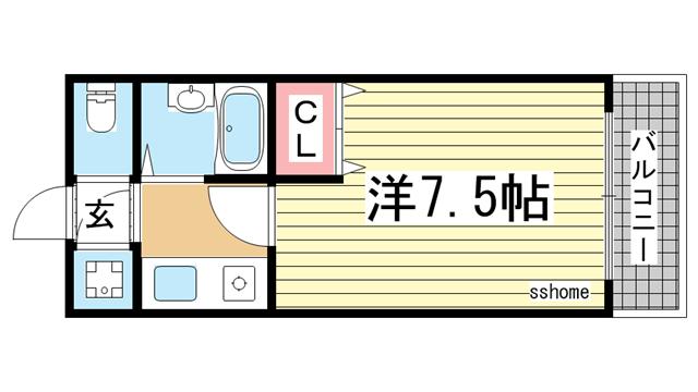 物件番号: 1123104546 ジュネス六甲  神戸市灘区弓木町2丁目 1K マンション 間取り図