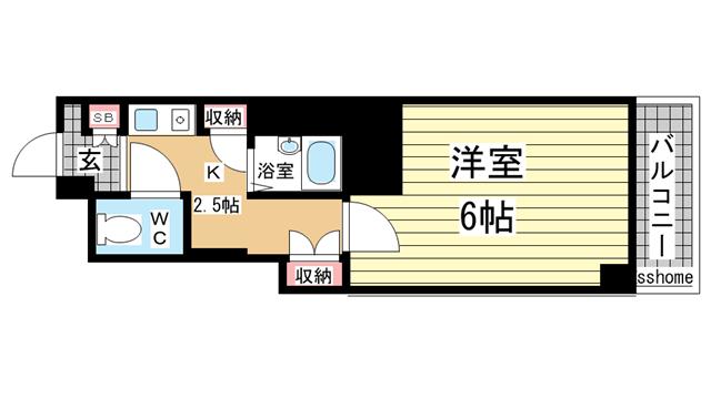 物件番号: 1123104554 ヴィヴァント青木  神戸市東灘区青木2丁目 1K マンション 間取り図