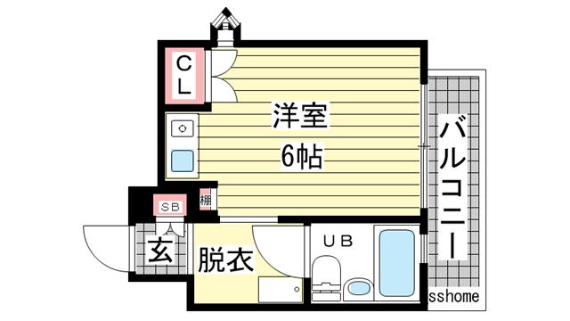 物件番号: 1123104589 フォーラム王子公園  神戸市灘区中原通6丁目 1R マンション 間取り図