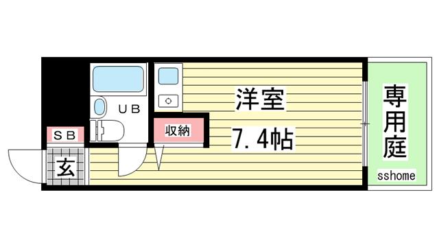 物件番号: 1123104591 サニーヒル六甲  神戸市灘区曾和町1丁目 1R マンション 間取り図