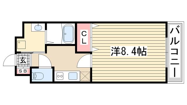 物件番号: 1123104604 ビス・メゾン高羽  神戸市灘区高羽町3丁目 1K マンション 間取り図