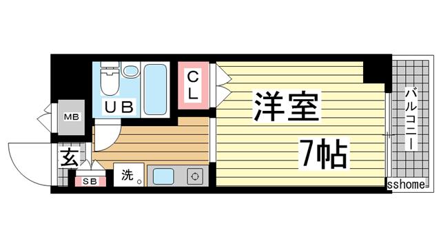 物件番号: 1123104636 メゾン・ド・御影パートⅡ  神戸市東灘区御影石町1丁目 1R マンション 間取り図