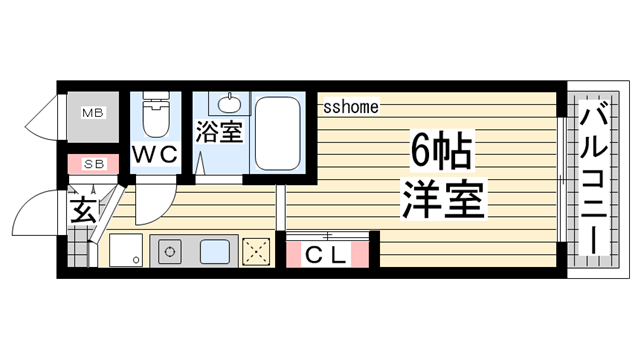物件番号: 1123104658 スペラーレ御影  神戸市東灘区住吉宮町7丁目 1K マンション 間取り図