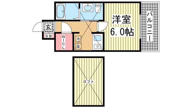 物件番号: 1123104771 スパンキーギャレット  神戸市灘区記田町5丁目 1SK マンション 間取り図