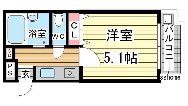 物件番号: 1123104774 住吉スカイブルー  神戸市東灘区住吉南町5丁目 1K マンション 間取り図