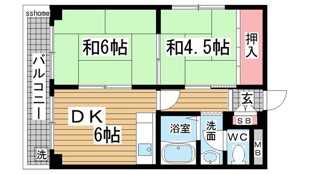 物件番号: 1123104784 ブロスコート六甲  神戸市灘区深田町2丁目 2DK マンション 間取り図