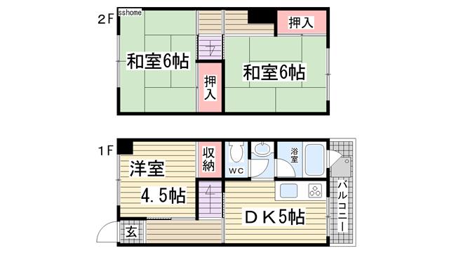 物件番号: 1123104825 鶴甲コーポ25号棟  神戸市灘区鶴甲4丁目 3DK マンション 間取り図