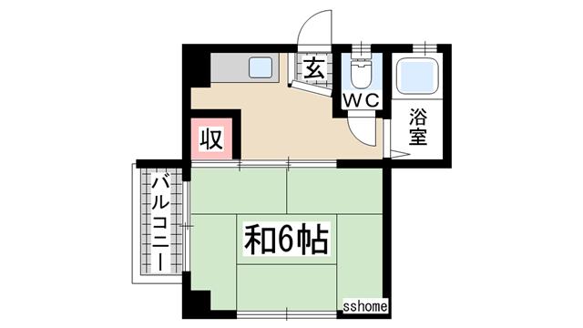 物件番号: 1123104834 シャトー上野  神戸市灘区上野通4丁目 1K マンション 間取り図