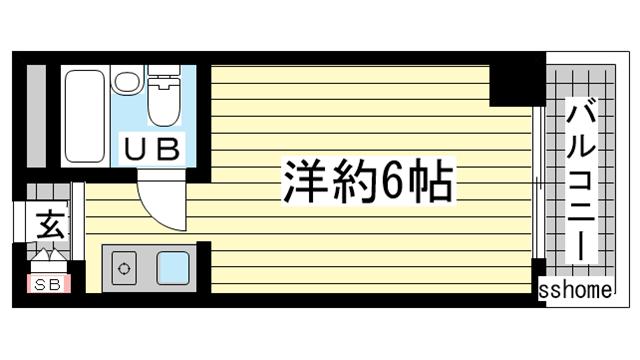 物件番号: 1123104854 メゾン・ド・六甲パートⅠ  神戸市灘区上河原通3丁目 1K マンション 間取り図