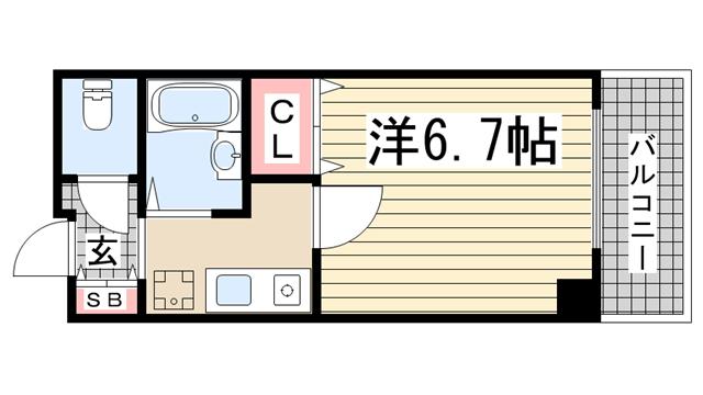 物件番号: 1123104897 理光マンション  神戸市灘区永手町5丁目 1K マンション 間取り図