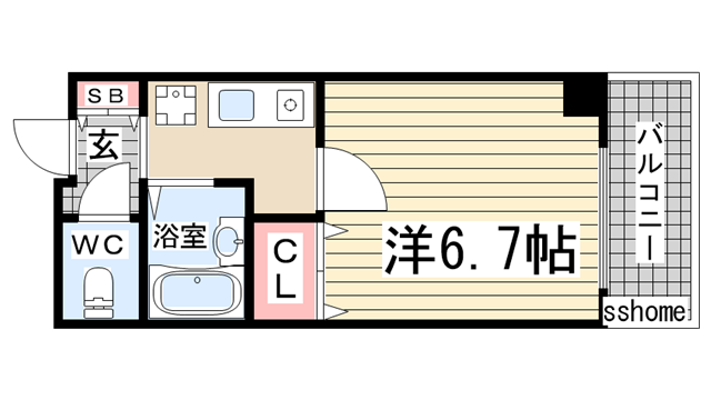物件番号: 1123104899 理光マンション  神戸市灘区永手町5丁目 1K マンション 間取り図