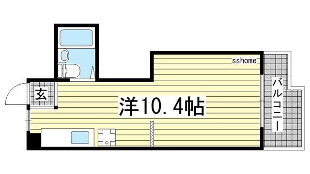 物件番号: 1123104907 エクセレンス六甲  神戸市灘区鶴甲3丁目 1R マンション 間取り図