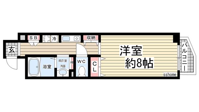 物件番号: 1123104913 レシェンテ六甲  神戸市灘区千旦通2丁目 1K マンション 間取り図