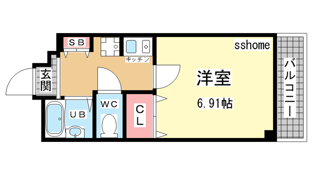 物件番号: 1123104942 ウェーブ桜ヶ丘  神戸市灘区桜ヶ丘町 1K ハイツ 間取り図