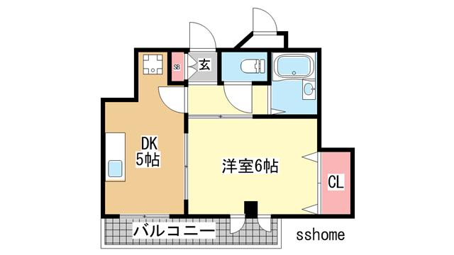物件番号: 1123104962 メイツ摩耶  神戸市灘区灘南通4丁目 1DK マンション 間取り図