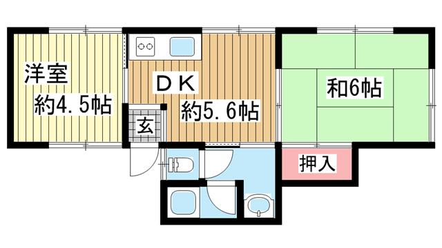 物件番号: 1123104979 清水コーポ  神戸市灘区浜田町1丁目 2DK アパート 間取り図