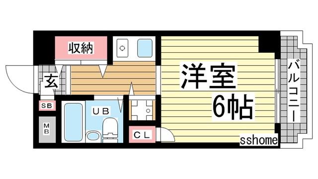 物件番号: 1123105035 アルテハイム灘  神戸市灘区岩屋中町2丁目 1K マンション 間取り図