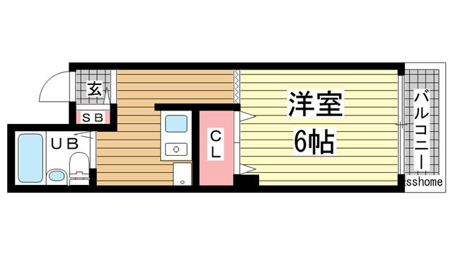 物件番号: 1123105099 アルテハイム灘  神戸市灘区岩屋中町2丁目 1K マンション 間取り図