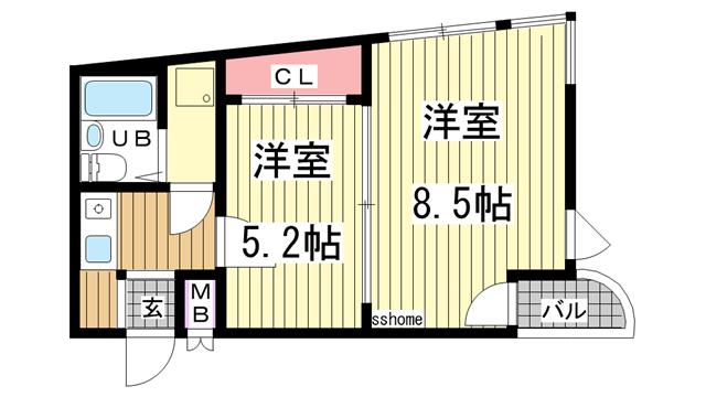 物件番号: 1123105135 ビハーラ三谷  神戸市灘区中原通3丁目 2K マンション 間取り図