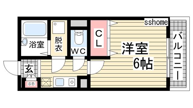 物件番号: 1123105136 モンテメール天城  神戸市灘区天城通1丁目 1K マンション 間取り図