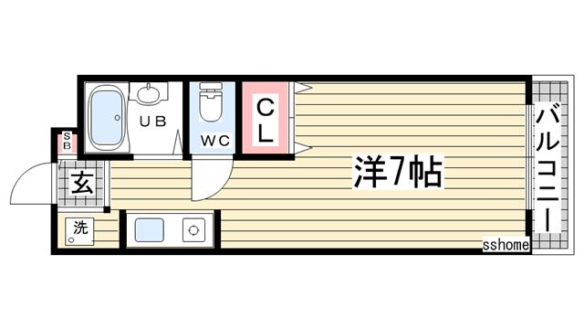 物件番号: 1123105214 ヴィラ六甲  神戸市灘区烏帽子町3丁目 1R アパート 間取り図