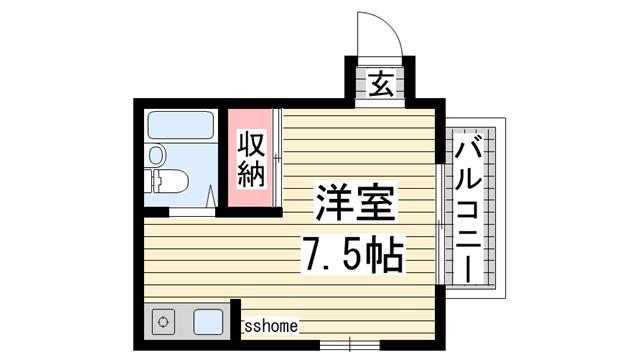 物件番号: 1123105328 Bau haus  神戸市灘区泉通2丁目 1R マンション 間取り図