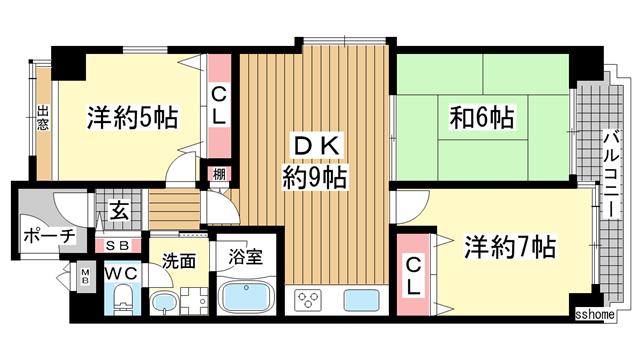 物件番号: 1123105411 ライオンズマンション灘南  神戸市灘区岩屋北町5丁目 3DK マンション 間取り図