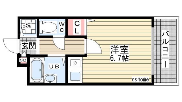 物件番号: 1123105498 シティライフ六甲道3  神戸市灘区桜口町2丁目 1R マンション 間取り図