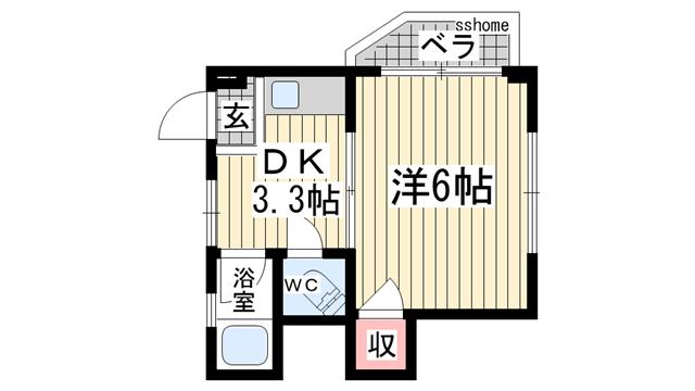 物件番号: 1123105502 シャトー上野  神戸市灘区上野通4丁目 1K マンション 間取り図