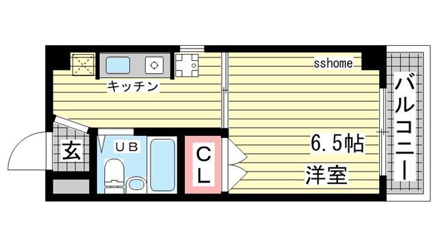 物件番号: 1123105567 ポプリ六甲  神戸市灘区高徳町6丁目 1K マンション 間取り図