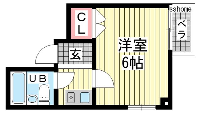 物件番号: 1123105575 LEF-NADA  神戸市灘区灘北通10丁目 1K マンション 間取り図